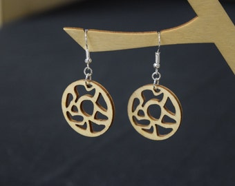 Circle Amoeba - Laser Cut Wood Earrings