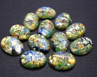 4pcs-Vintage  Green Opal Glass 14x10mm Oval Cabochon .
