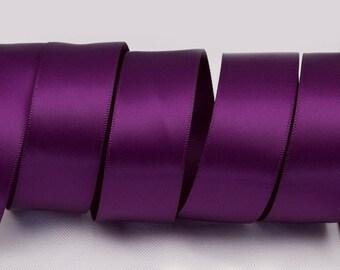"Plum Purple Ribbon, Double Faced Satin Ribbon, Widths Available: 1 1/2"", 1"", 6/8"", 5/8"", 3/8"", 1/4"", 1/8"""