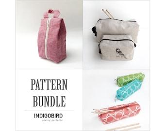 Knitting Bag, Project Bag, Zip Bag Pattern, Pattern bundle, Sewing Pattern, Pencil case, travel bag, dopp bag