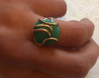 Turquoise sleeping beauty blue ring, natural stone, 925 silver sterling / size 52.5