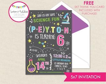 Mad Scientist Geburtstag, Science-Geburtstags-Einladung, verrückter Wissenschaftler Printables, Wissenschaft Geburtstag Dekorationen, Lauren Haddox Designs