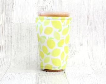 Lemons Iced Coffee Cozy, Cup Cozy, Iced Coffee Cozy, Cup Sleeve, Coffee Cozy, Coffee Cuff