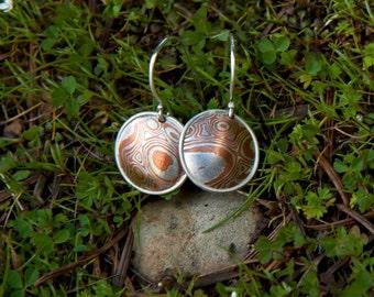 Round A Bout Mokume Gane Earrings