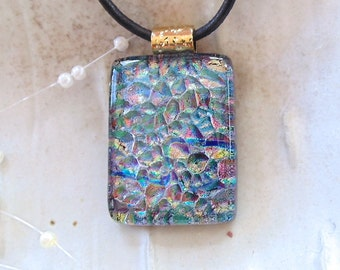 Dichroic Pendant, Necklace, Fused Glass Jewelry, Green, Necklace Included, A3