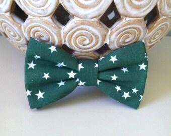 Dog Bow Tie / Bow - Dark Green with White Stars