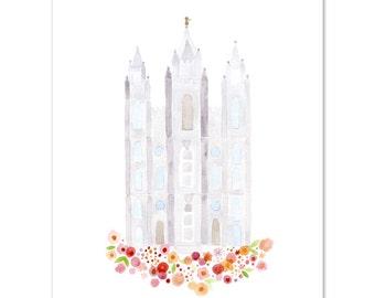 LDS Salt Lake City Temple Print - Giclee - Watercolor - gold foil - unframed