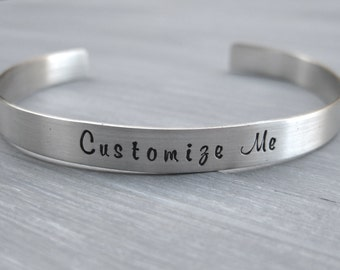 Customizable Sterling Silver Cuff Bracelet Personalized Jewelry Hand Stamped Mantra Cuff Your Text Inspirational Custom Cuff Graduation Gift
