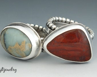 Silver Ring, Statement Ring, Cocktail Ring, Made to Order, Sterling Silver, Jasper, Turquoise, Agate, Malachite, Labradorite