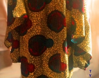 Multi-colour African print tunic dress with matching scarf.