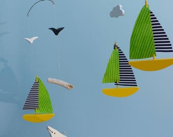 SAILBOAT MOBILE w Whale,C25,Wood,Fabric Sails,Clouds,Baby Mobile,Kinetic,Sailboat,Nursery Decor,Mobile,Baby Gift,Nautical,Yellow,Lime,Whale