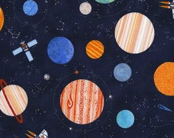 Planets Night Sky Milky Way Galaxy Space Ship Travel Exploration Navy Blue Fabric by Timeless