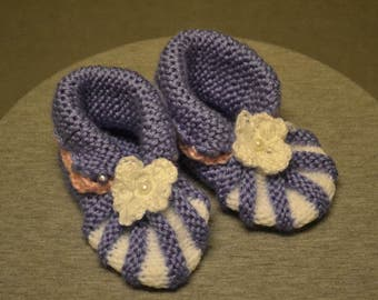 Knitted Booties purple