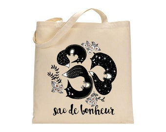 French Fox Happiness Bag Totebag - Cotton Bag - LIMITED EDITION