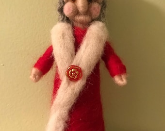 Needle Felted Mrs. Clause Christmas gnome