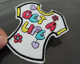 Get A Life Iron on Patch - Shirt Patch Letter Get A Life Girl T-Shirt Patches Iron on Applique Embroidered Patch Sewing Patch