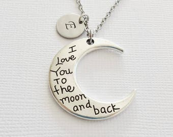 I Love you To The Moon Necklace, Moon Necklace, Crescent Moon, Planet, Celestial Gift, Personalized Monogram, Hand Stamped Letter Initial