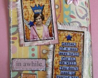 NAG Fairy mixed media Sarcastic/Funny/ Tag/Gift Tag/Scrapbook/Card