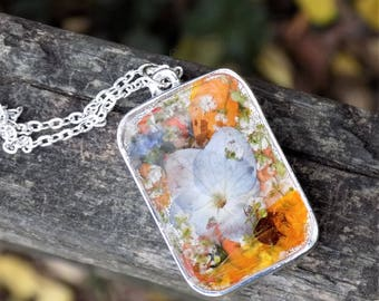 Double Sided Real Flower Pendant Necklace, Gold Leaf,  Floral Jewelry, Silver Necklace, Terrarium, Nature, Flowers, Boho, Bohemian, Charm