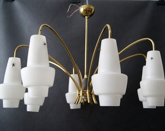 Chandelier mid century, large ceiling lamp, hanging lamp, torch, cone lamp