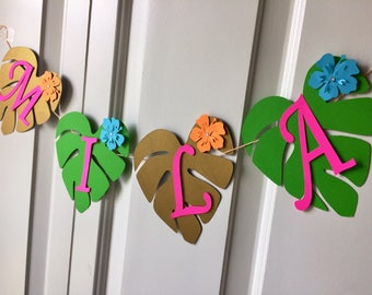 Moana custom banner, luau birthday banner, Hawaiian banner, leaf Banner, Polynesian princess banner.