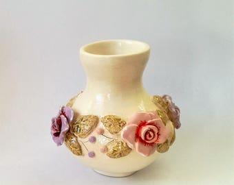 Ceramic white vase, Pottery vase, Flower vase, White vase, Ceramics and Pottery, Small vase, Ornament ceramic vase, Vases