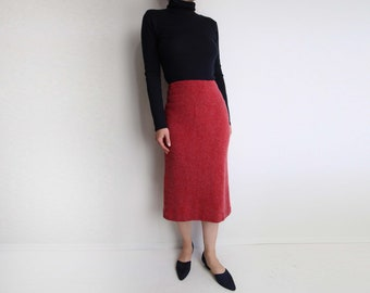VINTAGE Skirt Red Angora Red Soft Knit Skirt Small