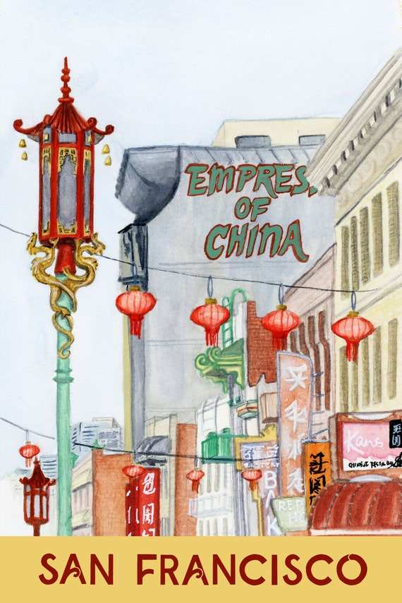 Chinatown, San Francisco Travel Poster art print of an original watercolor illustration