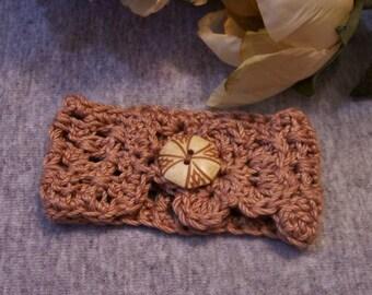 Suntan Cotton Crochet Bracelet Cuff, Soft Bronze Cotton with Vintage Button Closure, Boho, Renaissance, Art Bracelet