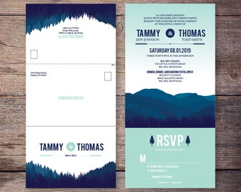 Printable Seal and Send Wedding Invite, Blue, Mint, Mountain, Forest, All in One Wedding Invitation, Very Economical - Tammy