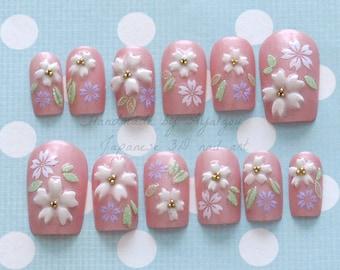 Japanese 3D nails, pink, sakura, cherry blossom, kawaii, flower, fairy kei, sweet lolita, lolita accessory, deco nail, Japanese nail,