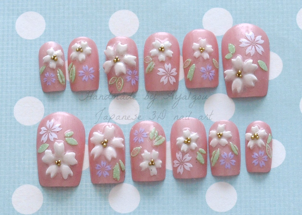 Japanese 3D nails pink sakura cherry blossom kawaii