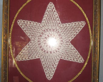 Vintage Framed Hand-Tatted Lace Star Very Delicate and Beautiful 13 1/2 x 17 1/2 Overall Ships FREE