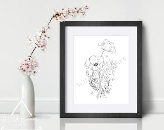 Digital Download - Poppy bouquet, pen and ink drawing, 5x7, 8x10, art print, wall art, botanical flower art, printable art, hand drawn