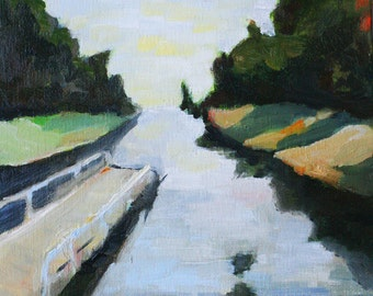 landscape oil painting art print serene and calm dock with water and trees scene reproduction of original oil painting