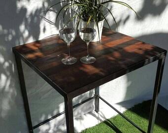 Industrial steel frame and Jarrah wood top table