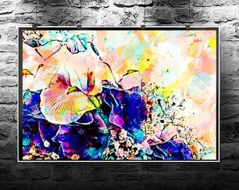 Flowers hydrangeas iris original abstract painting. Flowers hydrangeas iris  original art digital download. Abstract flowers hydrangeas.
