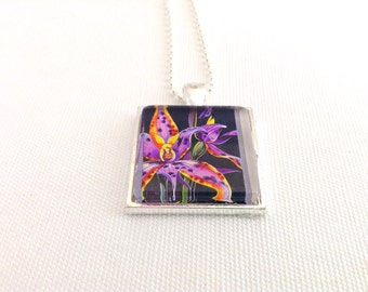 orchid flower necklace, Queen of Sheba wildflower, Australia 1986 postage stamp, Australian gift