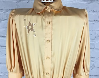 1980's Floaty Gold Star Midi Dress
