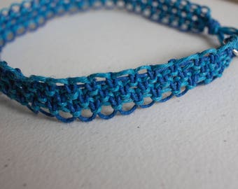 16 inch blue and turquoise hemp necklace