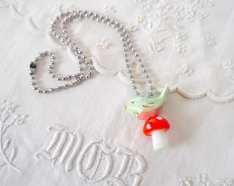 Ceramic Porcelain Blue Bird Necklace with Red Mushroom Glass Bead, Silver Toned Metal Ball Chain