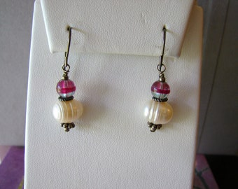 Brass, pearl and purple glass dangle earrings (C1)