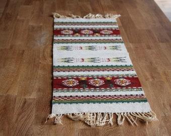 Swedish Rug Rag / Vintage Striped Wool Floor Table runner / Red green white  rug with Fringe Scandinavian decor