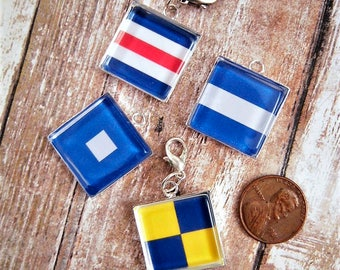 Nautical Signal Flags Jewelry Charms Signal Flags Jewelry Necklace Charms Pendants Nautical Sailing Maritime Yachting Boating Gift Ideas