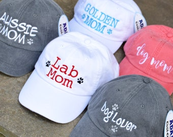 Lab Mom Dog Hat  || Paw Prints Baseball Cap || Handwriting Dog Mom || Best Puppy Dog Gifts by Three Spoiled Dogs
