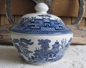 Blue Willow Ware Sugar Bowl Vintage Dinnerware and Replacements Made in England