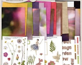 In The Garden, Spring Garden, Junk Journal, Nature Inspired Journal, Fairy Garden Kit, Flower Clip Art, Collage Sheets, Printable Paper