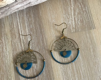 Bronze and blue duck earrings.