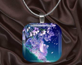Cherry Blossom Glass Tile Pendant with chain(CuOr2.4)