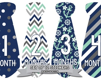 Monthly Tie Stickers Boy Month Stickers Monthly Baby Stickers Monthly Milestone Stickers Baby Month Baby Stickers Bodysuit Sticker 702